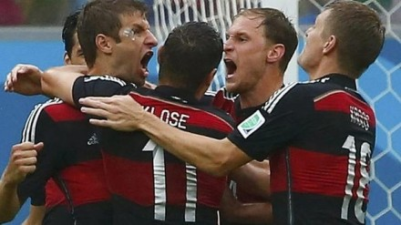 Fourth goal of the World Cup -  Thomas Mueller celebrates his win. Photo  Reuters, Sydney Morning Herald